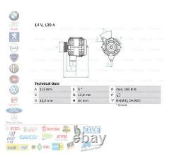 Alternateur 14V 120AH Alfa Romeo Mito Fiat Bravo II Lancia Delta III 1.6 1.9 2.0