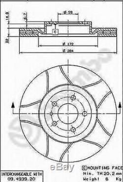 Paire Disques de Frein Brembo 09.4939.76 Alfa Romeo Fiat Vauxhall